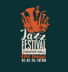 poster for the jazz festival with wind instruments vector image vector image