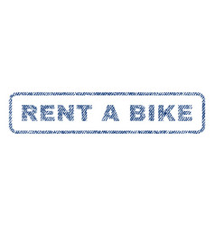 Rent a bike textile stamp vector