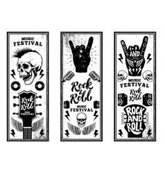 rock and roll party flyers template vintage vector image vector image