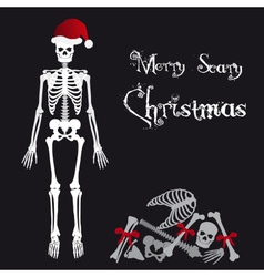 Santa claus skeleton scary christmas greetings vector