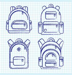 school backpacks set of sketched and ink backpack vector image