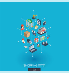 shopping integrated 3d web icons digital network vector image vector image