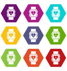smartwatch icon set color hexahedron vector image vector image