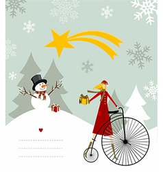 Snowman and star of Bethlehem card vector image