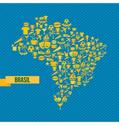 Soccer icons Brazil map vector image