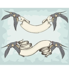 Swallows holding ribbons vector image
