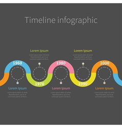 Timeline infographic with ribbon empty dash line vector