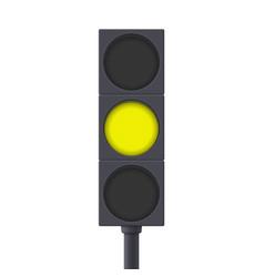 Traffic light yellow light on vector