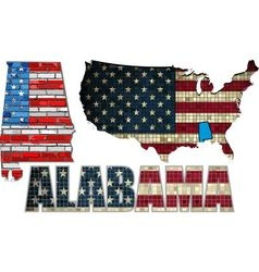 USA state of Alabama on a brick wall vector image vector image
