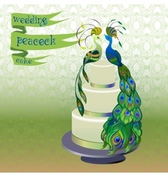Wedding cake with couple peacocks Green vector image vector image