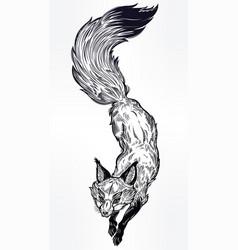 wild jumping fox line art vector image