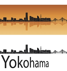 Yokohama skyline in orange background vector image vector image