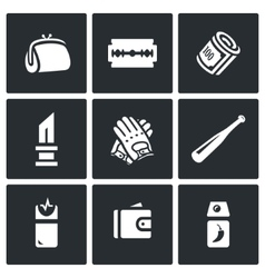 Set of street crime icons theft tool vector