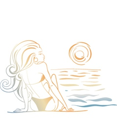 Girl and the ocean doodle vector
