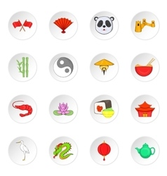 China icons cartoon style vector