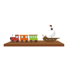 Shelf with toys icon vector