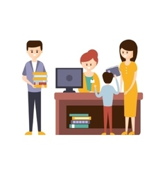 Library or bookstore with people using help of vector