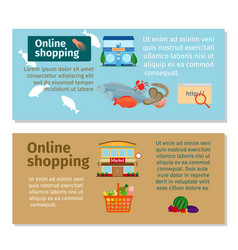 Online shopping grocery and seafood flyers vector