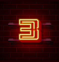 neon city font number 3 vector image