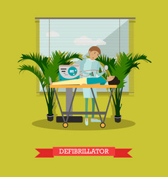 Defibrillator in flat style vector