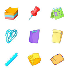 post stationery icons set cartoon style vector image
