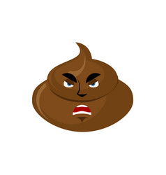 Shit angry emoji turd aggressive emotion isolated vector