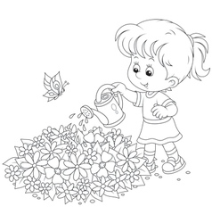 Girl watering flowers vector