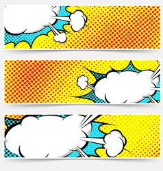 Yellow background pop-art explosion bubble set vector