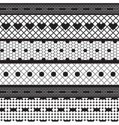 Black lace ribbons fabric seamless pattern vector