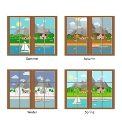 Window in different season vector