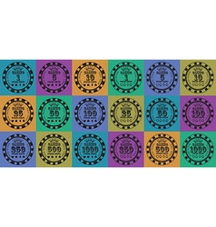 Poker chips set black on color vector