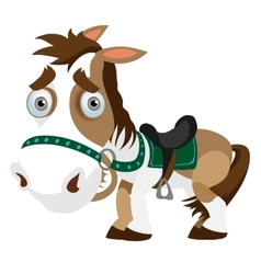 Funny horse closeup in cartoon style isolated vector