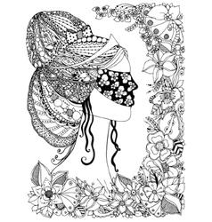 a girl Princess zentangl vector image