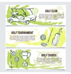 Golf banners or website header set vector