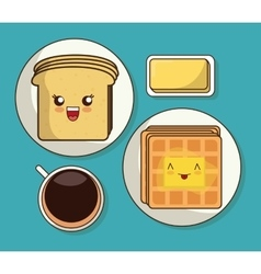 Breakfast design kawaii bread icon vector