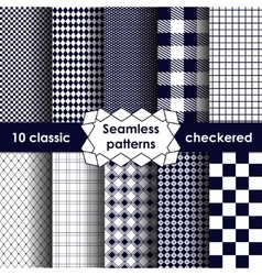 Checkered fabric seamless pattern blue and white vector