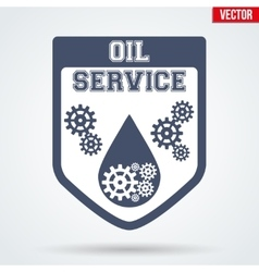 Oil motor service signs and label vector