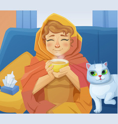 a sick cold woman f with a cup of hot tea vector image vector image