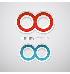 Abstract Paper Red and Blue Infinity Symbols vector image vector image