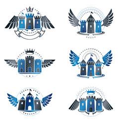 ancient bastions emblems set heraldic design vector image vector image