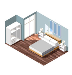 Bedroom interior isometric composition vector
