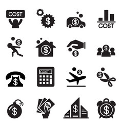 business cost icon set vector image vector image