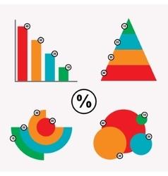 Business data market elements dot bar pie charts vector image
