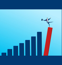 Businessman with falling down trend graph vector