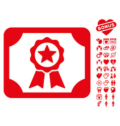 Certificate icon with lovely bonus vector