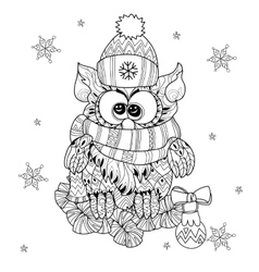 Christmas Owl on fir tree branch vector image vector image