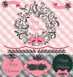 Christmas wreath clipart and paper set vector
