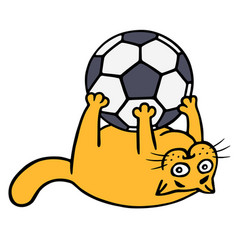Cute orange cat is playing with a soccer ball vector