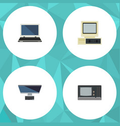 Flat icon computer set of computer vintage vector