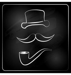 gentlemen graphic isolated on chalckboard vector image
